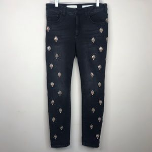 Anthro Pilcro Embellished rhinestone script jeans